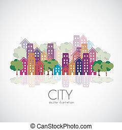ciudad, edificios, siluetas