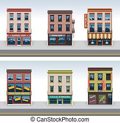 ciudad, edificios, vector, conjunto, icono