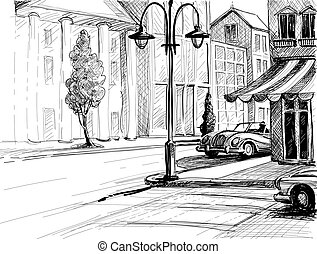 ciudad, edificios, vector, viejo, ilustración, coches, bosquejo, estilo, lápiz, papel, calle, retro