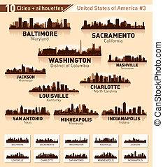 ciudad, estados unidos de américa, 10, set., contorno, #3, ciudades