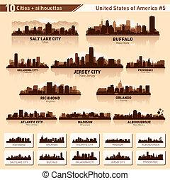 ciudad, estados unidos de américa, 10, siluetas, set., #5, contorno