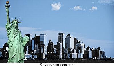 ciudad, estados unidos de américa, nyc, céntrico, york, nuevo, contorno