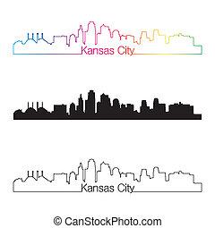 ciudad, estilo, lineal, arco irirs, kansas, contorno