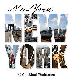ciudad, gráfico, montaje, york, nuevo, nyc