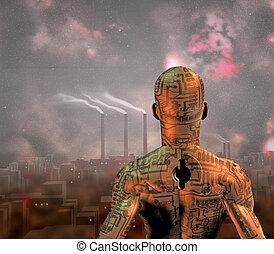 ciudad, grime, robot, antes