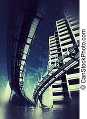 Ciudad grunge futurista