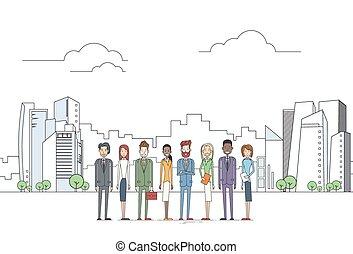 ciudad, grupo, empresarios, grande, encima, compañeros de trabajo, equipo, ejecutivos, vista