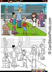 ciudad, grupo, libro colorear, caricatura, gente, página