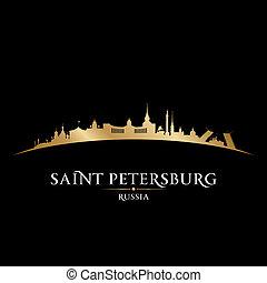 ciudad, ilustración, silhouette., contorno, vector, petersburg, santo, rusia