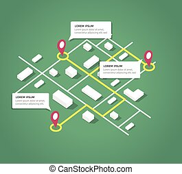 ciudad, isométrico, diseño, elements., mapa
