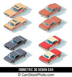 ciudad, isométrico, iconos, vector, coche, sedán, transporte, 3d