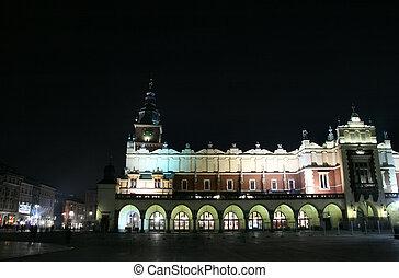 ciudad, krakow, -, noche, vista