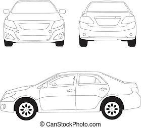 ciudad, línea, ilustración, coche