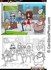 ciudad, libro colorear, caricatura, gente, página
