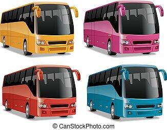 ciudad, moderno, cómodo, autobuses