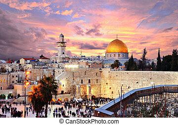 ciudad, monte, jerusalén, viejo, templo