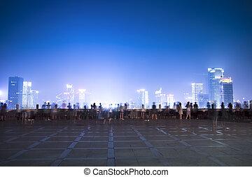ciudad, noche, escenas, gente