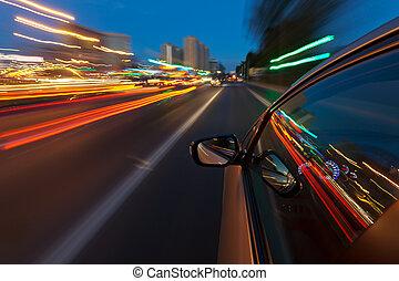 ciudad, noche, rápido, conducción, coche