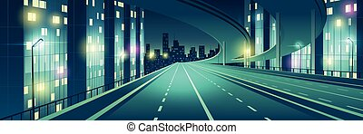 Ciudad Nocturna, vector de dibujos animados de la carretera iluminado