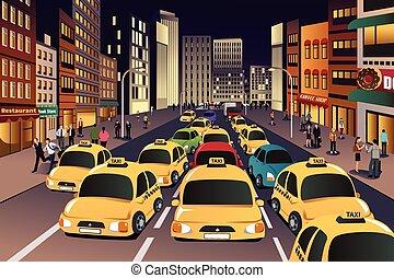 Ciudad ocupada por la noche