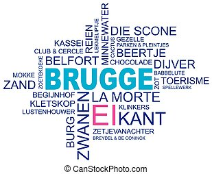 ciudad, palabra, alrededor, imagen, brujas, flamenco, vector, flandes, holandés, versión, eps10, bélgica, nube