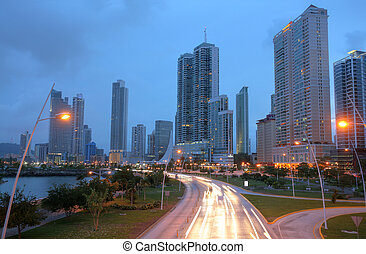 ciudad, panamá, vista, maravilloso, sunset.