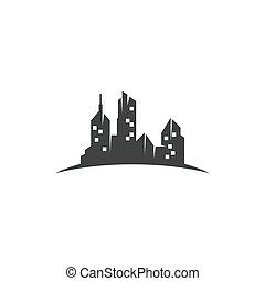 ciudad, plano de fondo, vector, contorno