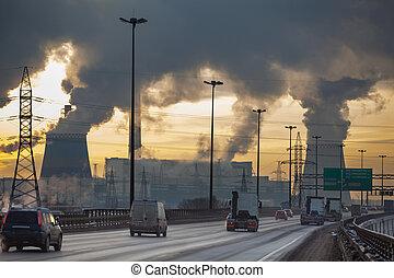 ciudad, planta, contaminación, calor, coches, eléctrico, aire, ringway, generación