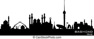 ciudad, silueta, bagdad, contorno, vector, irak