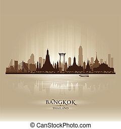 ciudad, silueta, bangkok, contorno, vector, tailandia