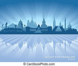 ciudad, silueta, contorno, petersburg, santo, rusia