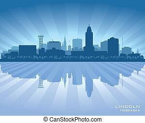 ciudad, silueta de lincoln, nebraska, contorno, vector