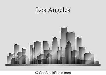 ciudad, silueta, grayscale, angeles, los, contorno