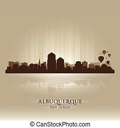 ciudad, silueta, méxico, albuquerque, contorno, nuevo