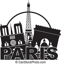 ciudad, silueta, parís, ilustración, contorno, círculo negro, blanco