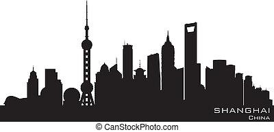 ciudad, silueta, shanghai, contorno, vector, china