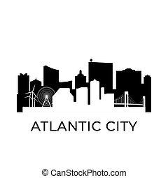 ciudad, skyline., jersey city, nuevo, atlántico