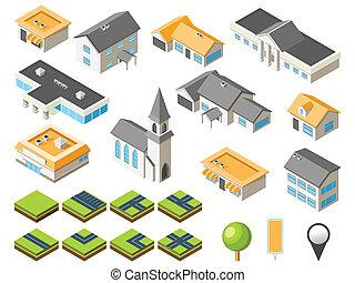 ciudad, suburbano, isométrico, kit