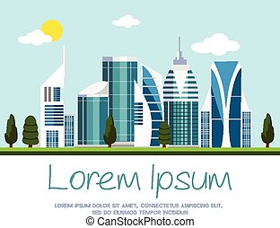 ciudad, vector, moderno, ilustración