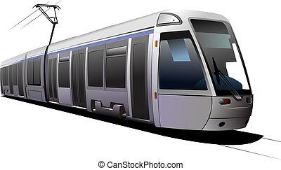 ciudad, vector, transport., ilustración, tram.