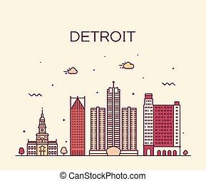 Ciudad vectorial de Detroit City Michigan USA