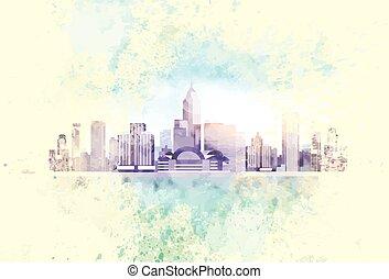 ciudad, vendimia, contorno, rascacielos, plano de fondo, cityscape, vista