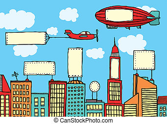 ciudad, visual, publicidad, /, contaminación