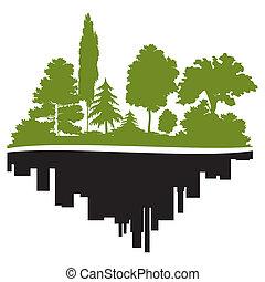 Ciudad y bosque
