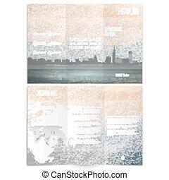Ciudad y paisaje marino. Brochure, volante triple o folleto de negocios. Diseño moderno de vectores de diseño en ambos lados