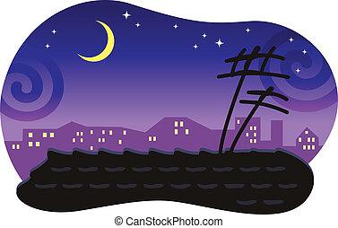Ciudades nocturnas estilizadas con un techo inclinado y la luna.