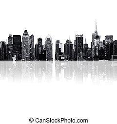 Ciudades, siluetas de rascacielos