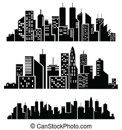 Ciudades Vectores silueta