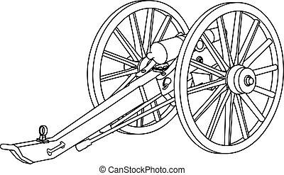 civil, cañón, guerra, dibujo