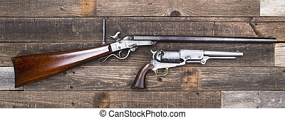 civil, pistols., guerra, era, rifle